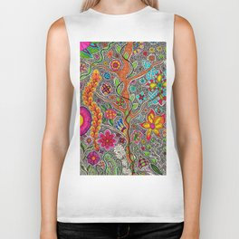 Trees and Flowers zentangle Biker Tank