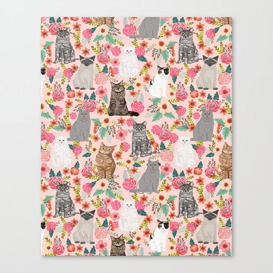 Cat Flowers cute spring summer garden cat lady pattern gift for cat person cat breed pet portraits  Canvas Print