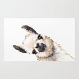 Sneaky Llama White Rug