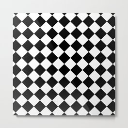 Rhombus (Black & White Pattern) Metal Print