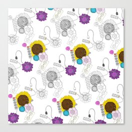 Unusual Patterns: Flowers and Electrical Outlets Canvas Print