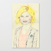 leslie knope Canvas Prints featuring leslie knope by withapencilinhand