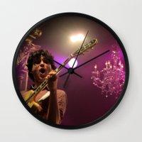 vampire weekend Wall Clocks featuring ezra koenig // vampire weekend by Hattie Trott