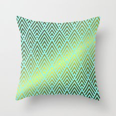 Gold foil triangles on aqua Throw Pillow
