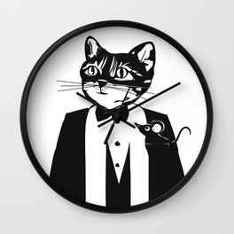 Cat in a dinner jacket Wall Clock