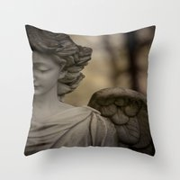 angel Throw Pillows featuring Angel by Maria Heyens