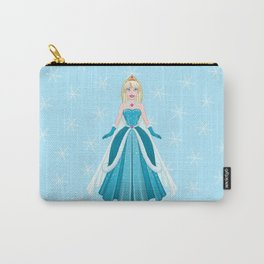 Snow Princess In Blue Dress Front Carry-All Pouch