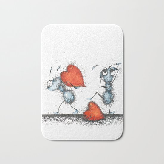 Two ants with hearts Bath Mat