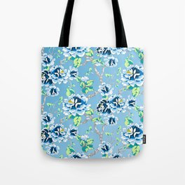 Chinoiserie Ming style Blue Floral Pattern Tote Bag