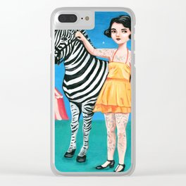 Tattooed circus girl with zebra. Clear iPhone Case