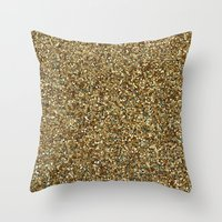 gold glitter Throw Pillows featuring Gold Glitter by Katieb1013