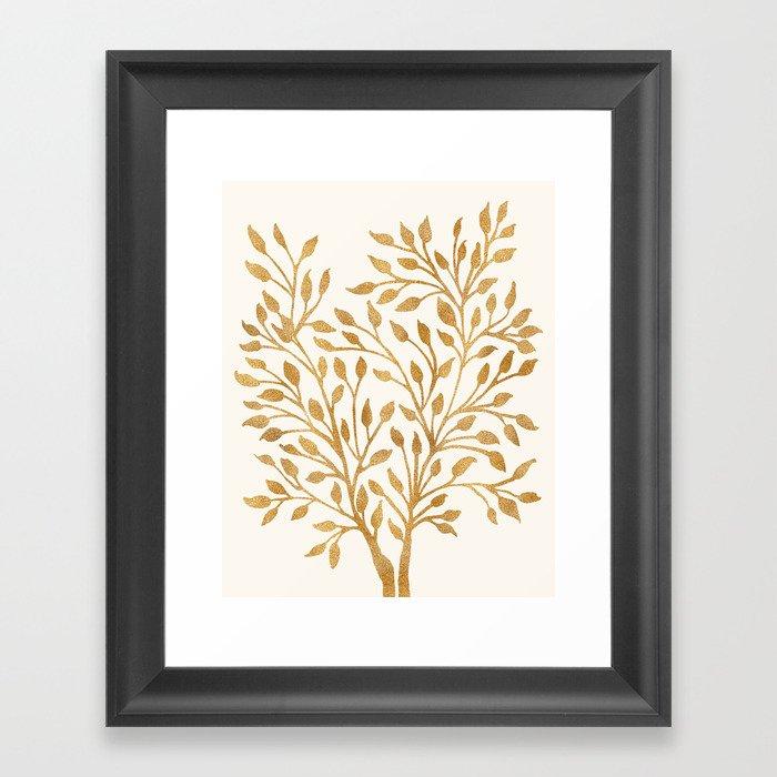 Golden Ficus Tree Framed Art Print