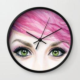 Pink Hair Green Eyes Beautiful Girl Wall Clock