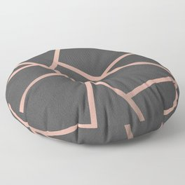 Dark Grey and Rose Gold Textured Fragments - Geometric Design Floor Pillow