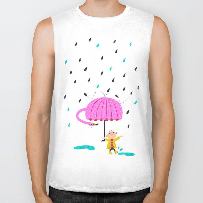 one of the many uses of a flamingo - umbrella Biker Tank