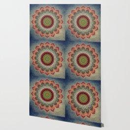 Retro Folk Art - Spirit Lotus Mandala Blue Red Wallpaper