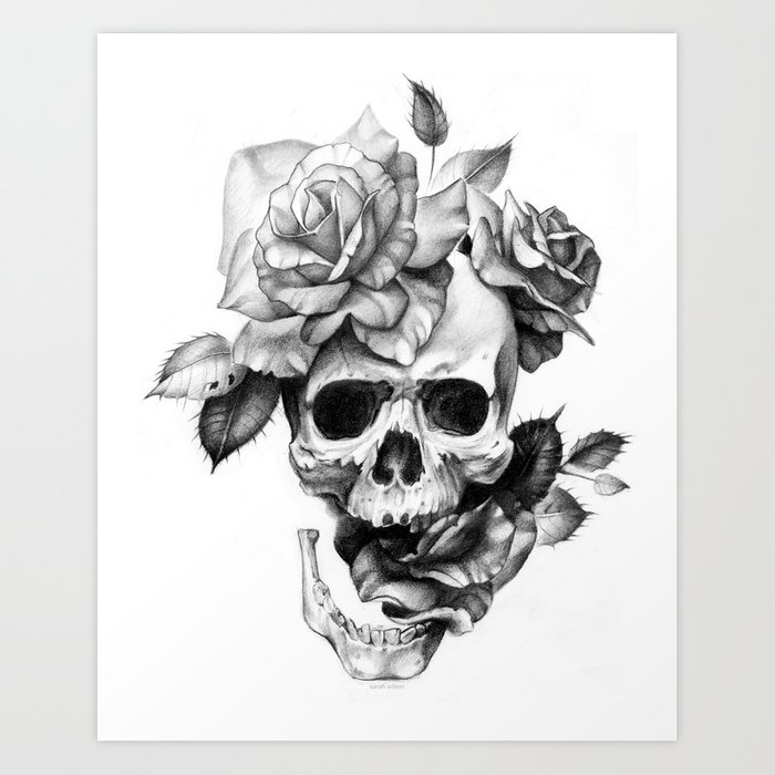 Black And White Skull And Roses Art Print By Sarachnid