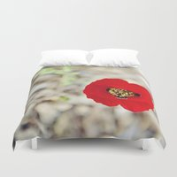 israel Duvet Covers featuring Vibrant Red Poppy, Israel by Kim Lucian Photography