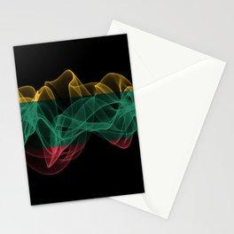 Lithuania Smoke Flag on Black Background, Lithuania flag Stationery Cards