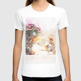 Cat sleeping art abstract T-shirt