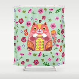 Happy Fortune Cat Shower Curtain