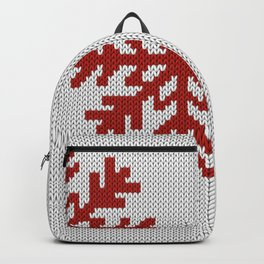 Knitted Christmas decoration red snowflake on white Backpack