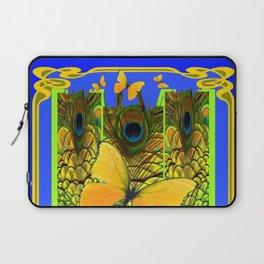 BLUE ART NOUVEAU YELLOW BUTTERFLIES GREEN ART Laptop Sleeve