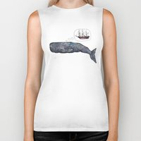 moby dick Biker Tanks featuring Moby Dick by Janie Stapleton