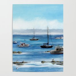 Boats Bobbing on Belfast Bay Poster