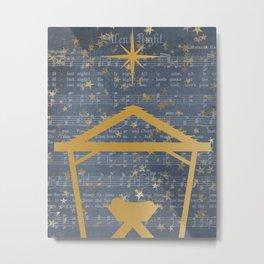 Silent Night Music Baby Jesus Holy Night Wall Art Metal Print