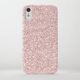 Stylish elegant girly faux rose pink gold glittter pattern iPhone Case