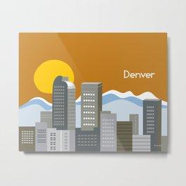 Denver, Colorado - Skyline Illustration by Loose Petals Metal Print