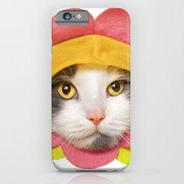 Cute Cat in a Flower Hat iPhone Case