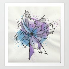 Explosion Flower Blue and Purple Art Print