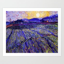 Lavender Fields with Rising Sun by Vincent van Gogh Art Print