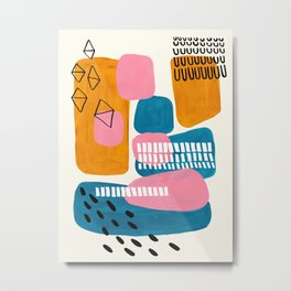 Mid Century Modern abstract Minimalist Fun Colorful Shapes Patterns Pink Teal Yellow Ochre Bubbles Metal Print