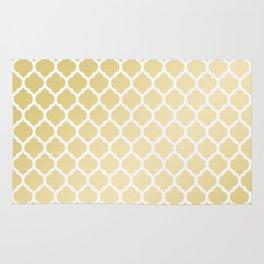 Elegant faux gold white moroccan quatrefoil pattern Rug