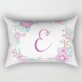 Monogram E - cute girls purple florals flower wreath, lilac florals, baby girl, baby blanket Rectangular Pillow