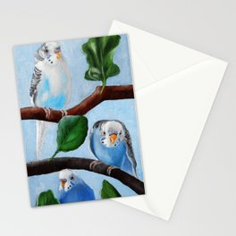 Spinach Tree Parakeet Painting Stationery Cards