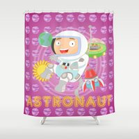 astronaut Shower Curtains featuring Astronaut by Alapapaju