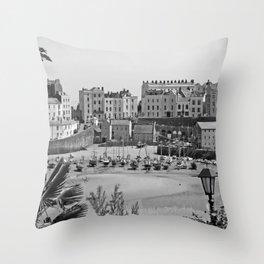Tenby Harbour. Black+White. Reflection. Throw Pillow