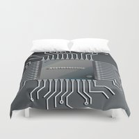 computer Duvet Covers featuring Computer Chip by Robin Curtiss