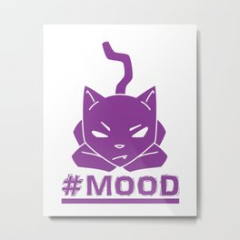 #MOOD Cat Purple Metal Print