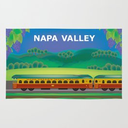 Napa Valley, California - Skyline Illustration by Loose Petals Rug