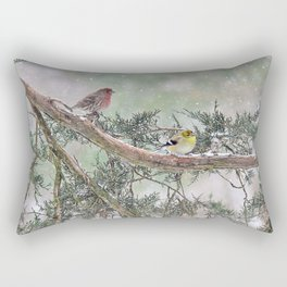 Two Finches in a Snowstorm Rectangular Pillow