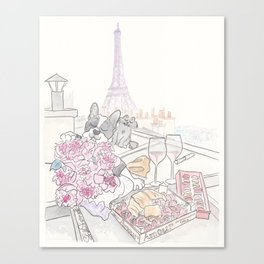 Paris Rooftop Picnic with French Bulldog and Black Cat Canvas Print