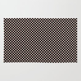 Black and Pale Dogwood Polka Dots Rug