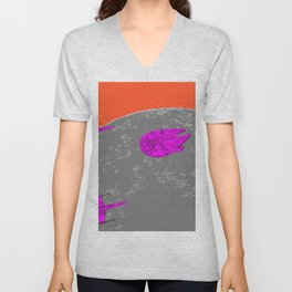 X-wing and Falcon Fly Over the Moon Unisex V-Neck