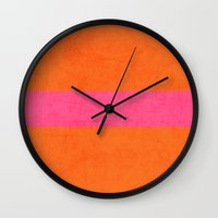 clueless Wall Clocks featuring orange and hot pink classic by her art