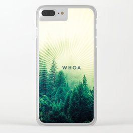 Whoa Trippy Forest Sun Light Rays Clear iPhone Case